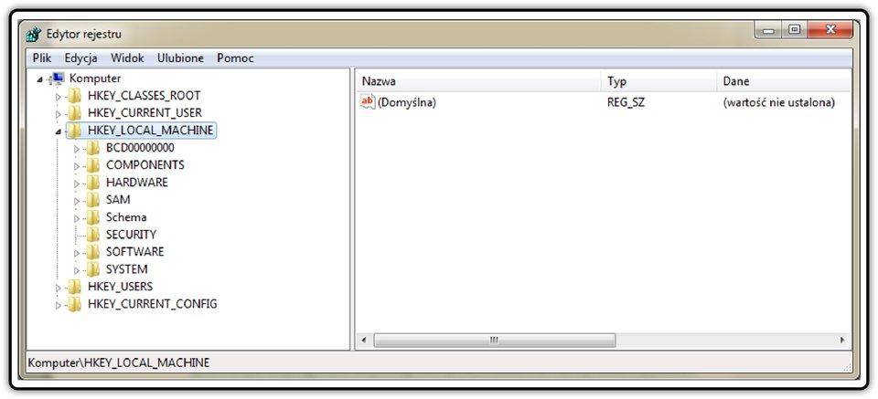 Zrzut okna: Edytor rejestru wsystemie operacyjnym Windows