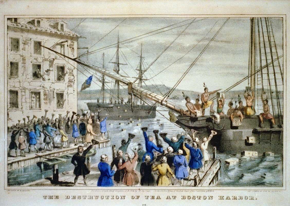 Bostońskie picie herbaty na litografii z1840 r. Źródło: Nathaniel Currier, Bostońskie picie herbaty na litografii z1840 r., 1840, domena publiczna.