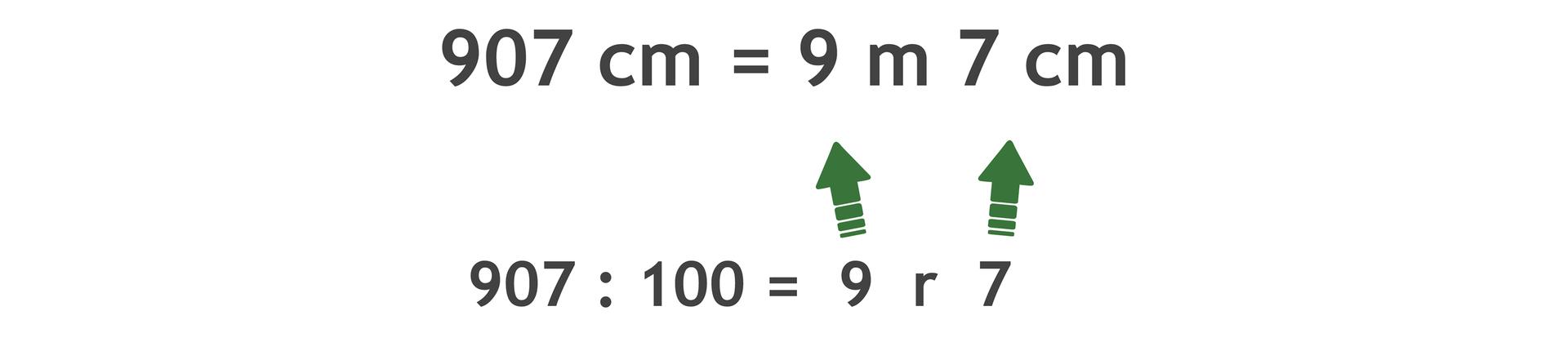 Zapis: 907 cm =9 m7 cm. 907 dzielone przez 100 = 9 r7.