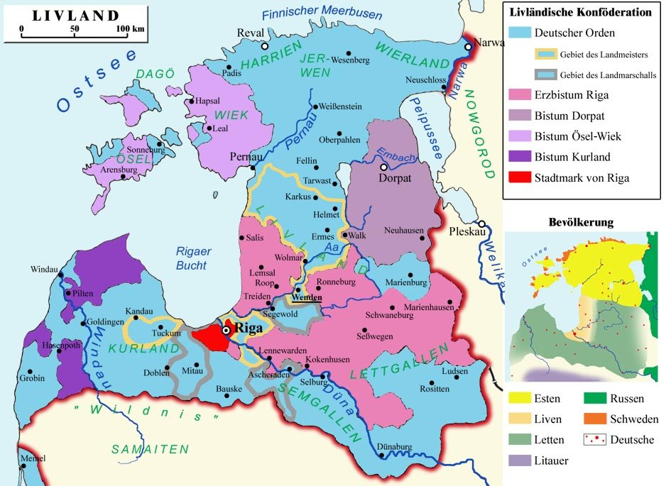 Państwo zakonu Rycerskiego wXVI w. Mapapokazuje skomplikowaną strukturę dawnych państw zakonnych nad Bałtykiem iich niemal federalistyczny charakter. Źródło: Ronald Preuss, Państwo zakonu Rycerskiego wXVI w., licencja: CC BY-SA 2.5.