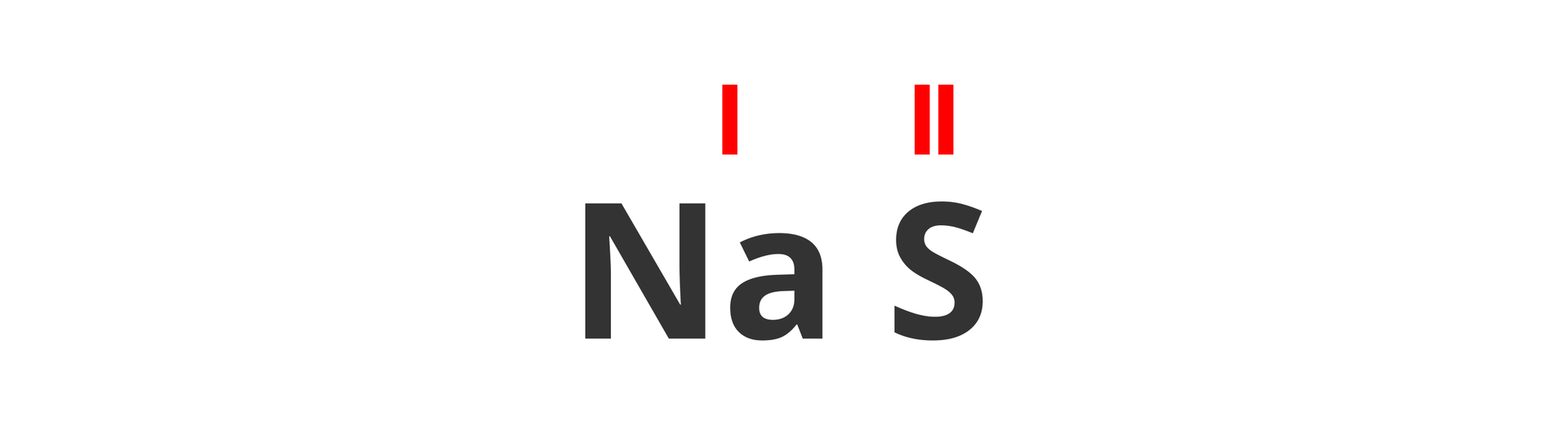 Na ilustracji widoczny jest zaczątek wzoru strukturalnego związku sodu isiarki. Nad symbolami pierwiastków czerwonym kolorem irzymskimi cyframi wyróżniono wartościowość obydwu pierwiastków. Dla sodu jest to jeden, adla siarki dwa.