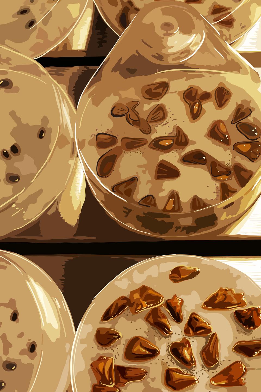 Ilustracja przedstawia dwa rzędy beżowych pojemników zbrązowymi iczarnymi nasionami wśrodku. Tak przechowywane są nasiona wbanku genów.