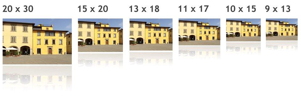 """""""Zdjęcia pięciu budynków podane wnastępujących formatach: 20 razy 30"""