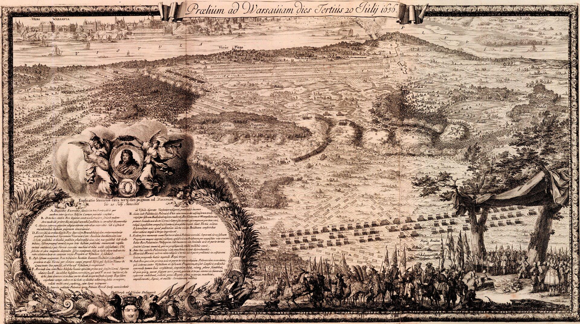 Układ sił wtrakcie trzeciego dnia (30 lipca 1656 roku) bitwy oWarszawę.