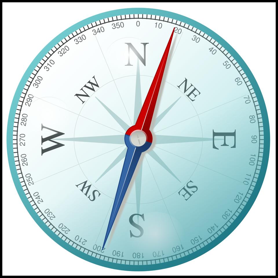 Róża wiatrów to tarcza zzaznaczonymi kierunkami świata oraz zpodziałką kątową obejmującą 360 stopni. Skróty kierunków głównych: N– północ, W– zachód, S– południe, E– wschód.Skróty kierunków pomocniczych: NW – północny-zachód, NE – północny wschód, SW – południowy zachód, SE – południowy wschód.