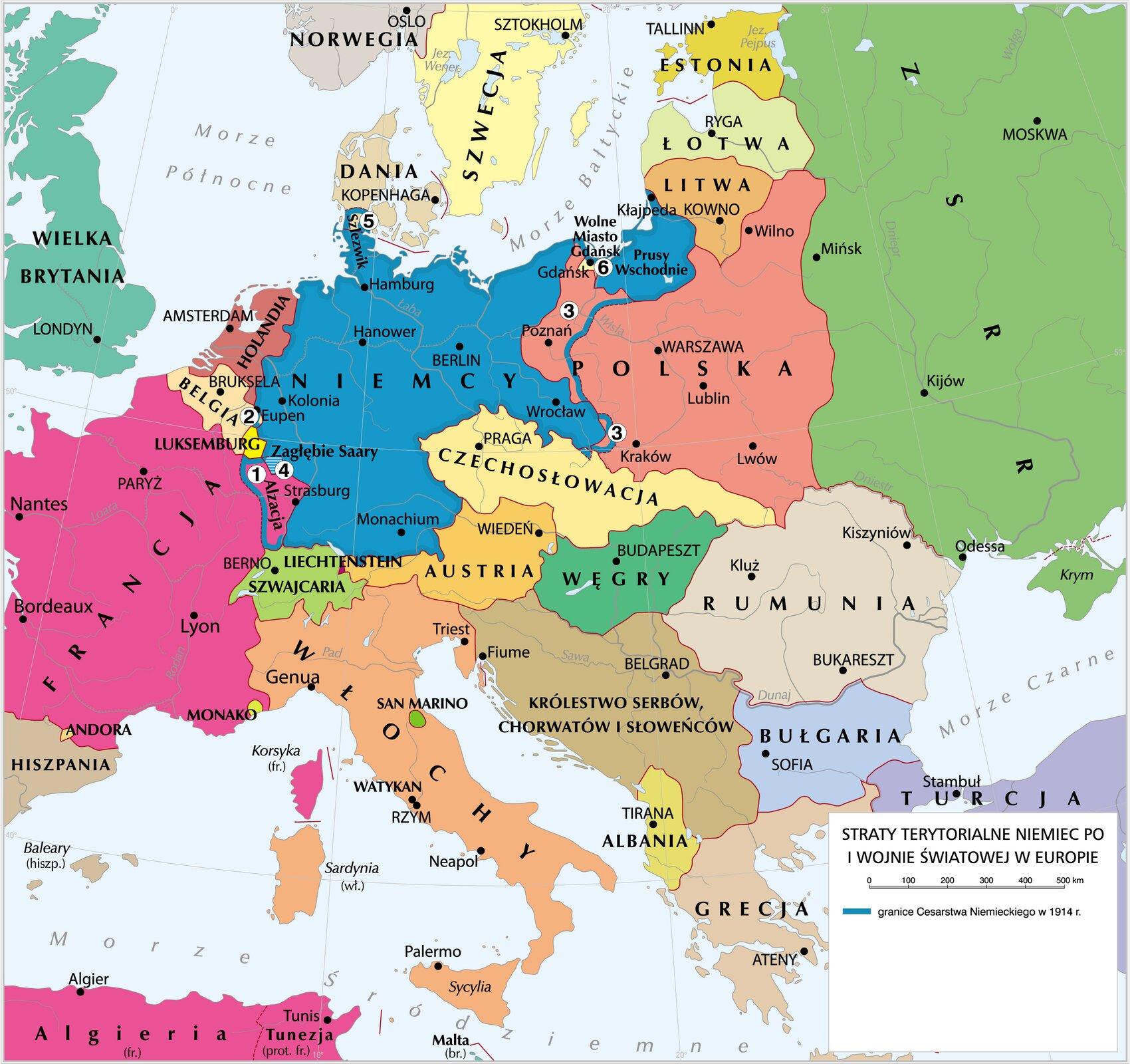 Wersja alternatywna: Korzystając zdowolnych źródeł informacji, wymień ziemie, które Niemcy straciły podczas pierwszej wojny światowej.