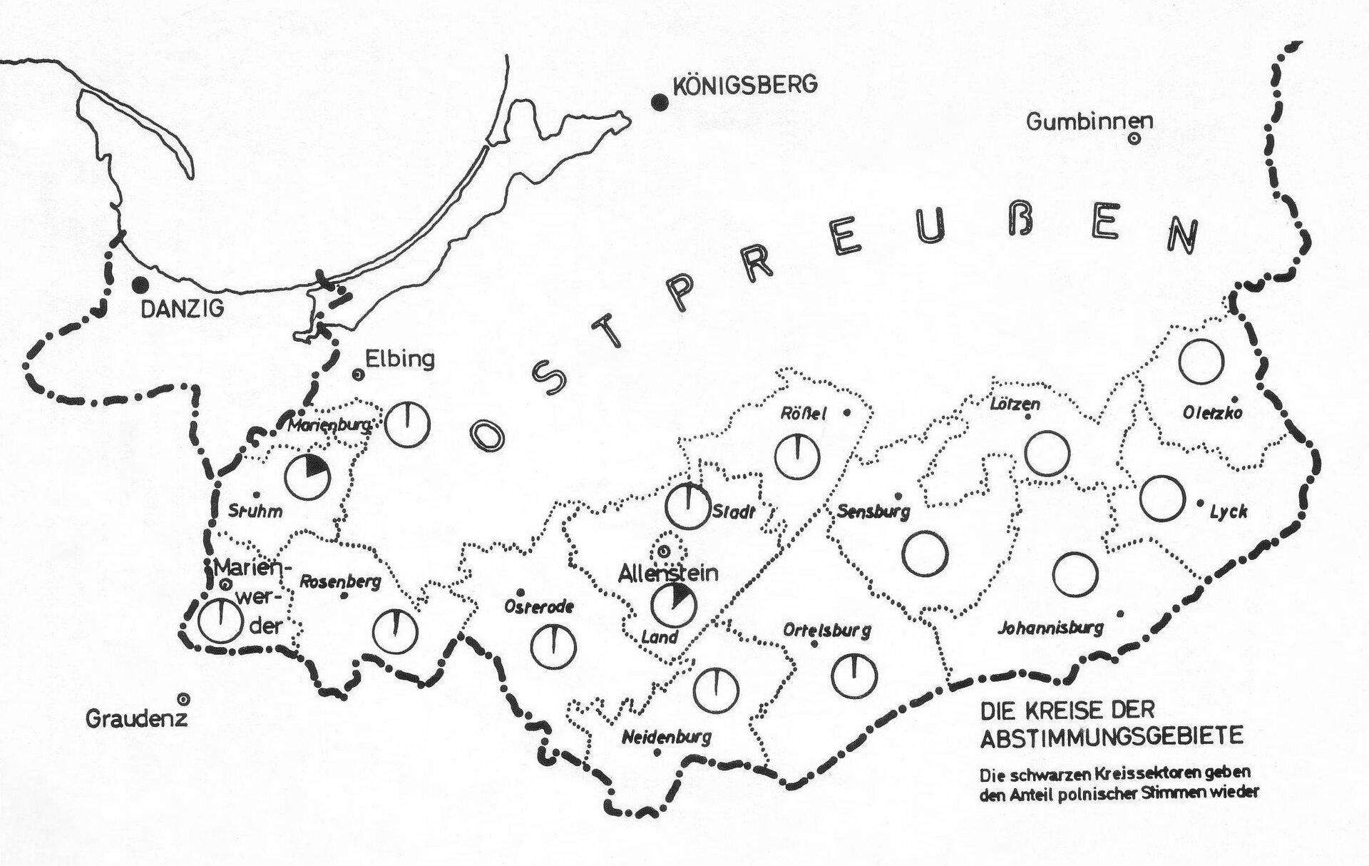 Odwzorowanie graficzne wyników plebiscytu dla poszczególnych jednostek terytorialnych Warmii iPowiśla Czarny kolor na diagramach odpowiadających poszczególnym powiatom oznacza procent głosujących za przynależnością do Polski. Źródło: Odwzorowanie graficzne wyników plebiscytu dla poszczególnych jednostek terytorialnych Warmii iPowiśla, 1920, domena publiczna.