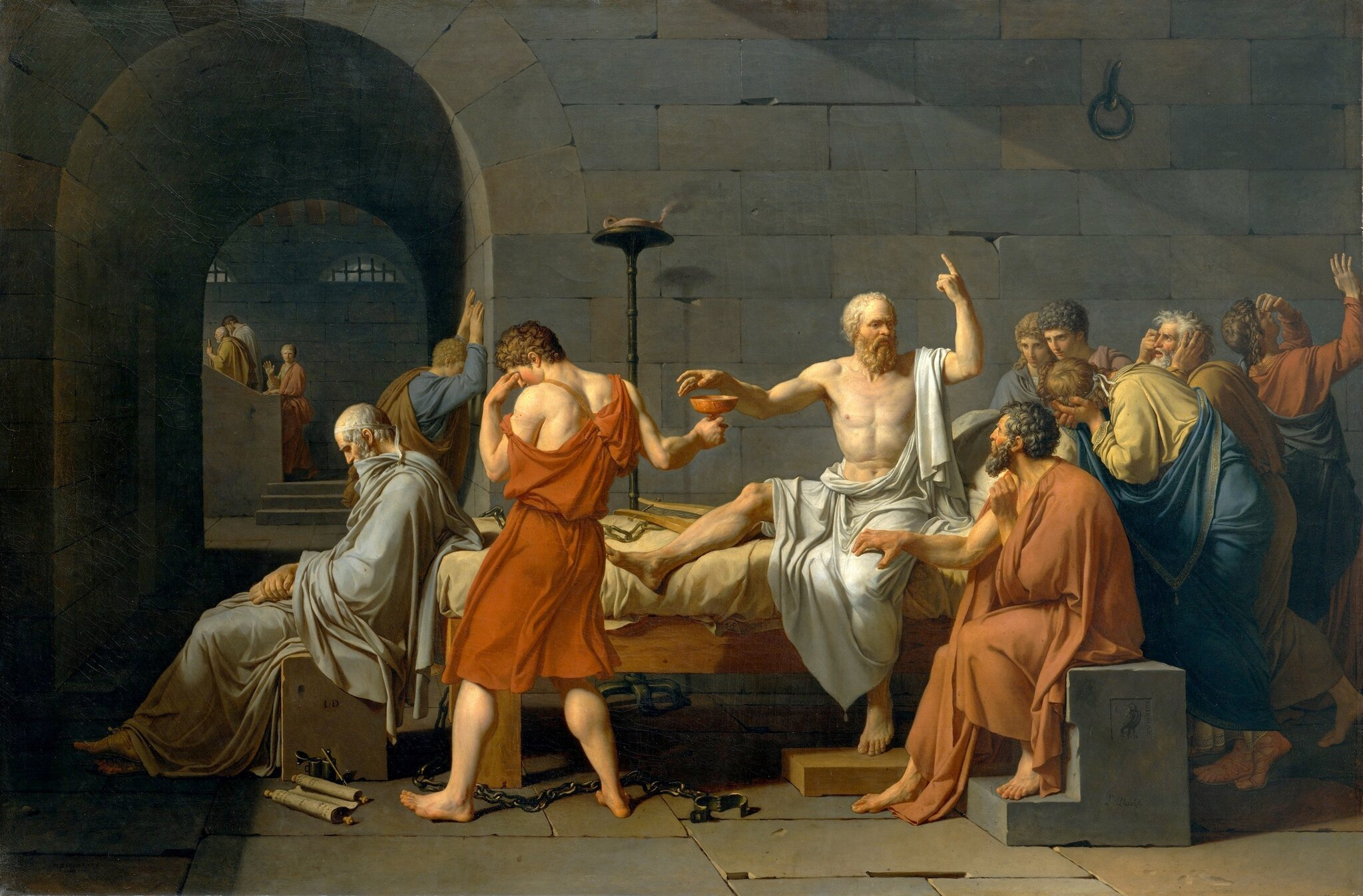 Śmierć Sokratesa Śmierć Sokratesa Źródło: Jacques-Louis David, 1787, olej na płótnie, domena publiczna.