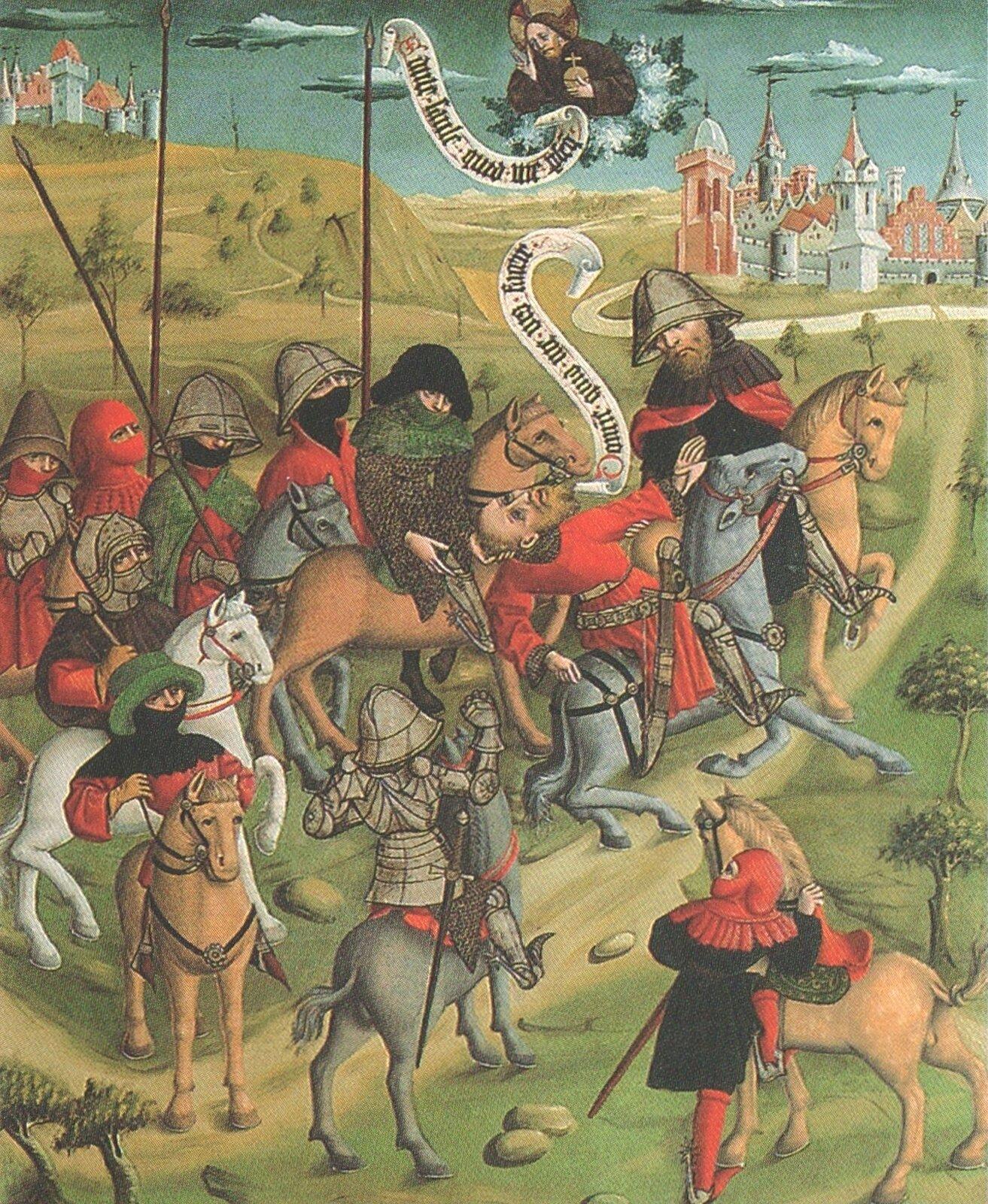 """Zdjęcie przedstawia obraz pt. """"Nawrócenie św. Pawła"""". Na obrazie można zobaczyć rycerzy na koniach, są oni wstrojach zbrojnych, na głowach mają chełmy lub inne okrycia."""