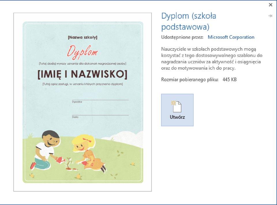 Zrzut przykładowego szablonu dyplomu