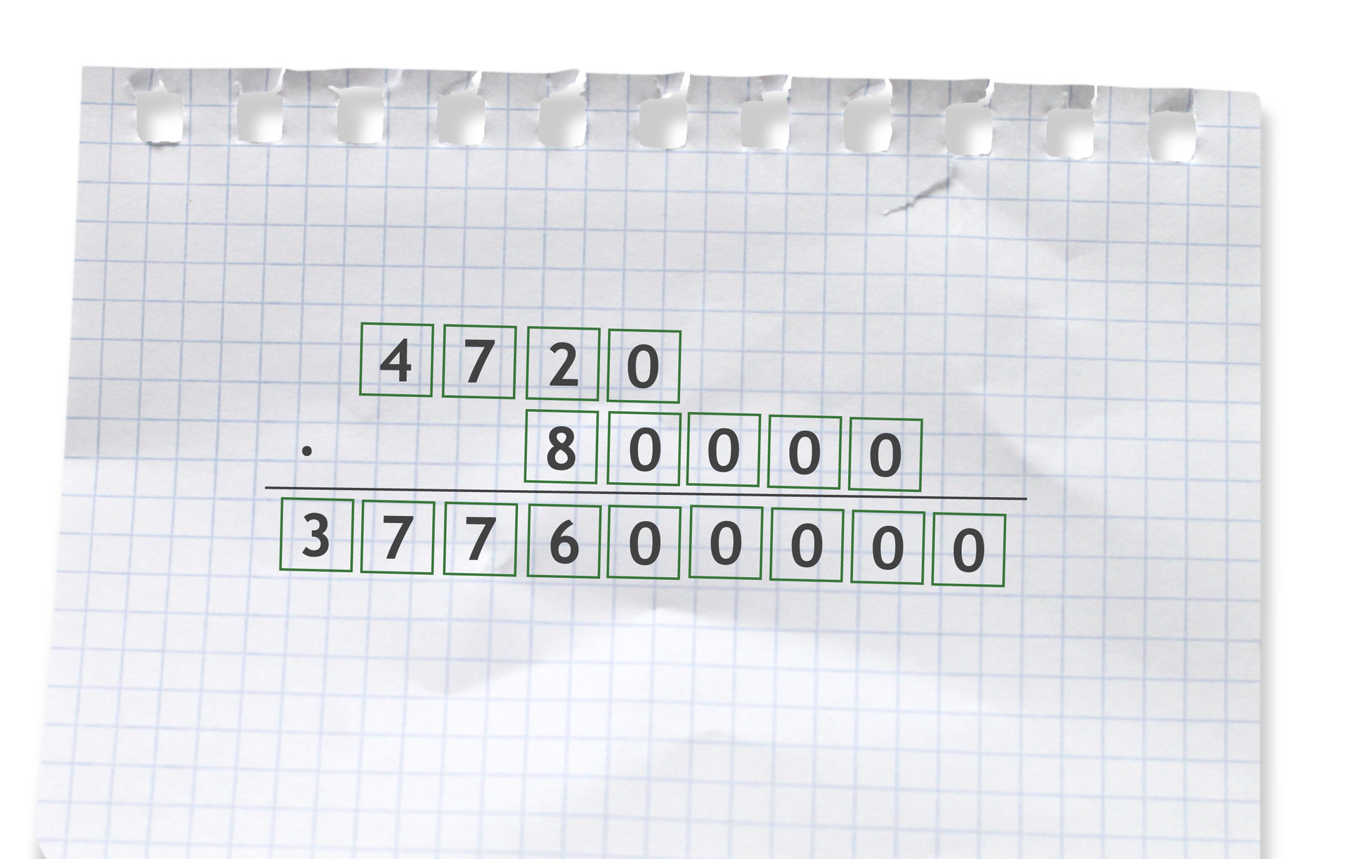 Przykład: 4720 razy 80000 =377600000. Rozwiązanie zadania podpunkt f.