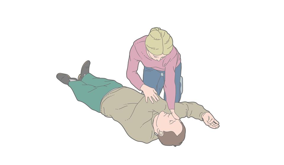 Poszkodowany mężczyzna leży na plecach. Prawa ręka nadal zgięta włokciu pod kątem prostym. Dłoń skierowana wgórę. Kobieta po prawej przekłada lewą rękę mężczyzny wpoprzek klatki piersiowej. Lewa dłoń jest umieszczona pod prawym policzkiem mężczyzny. Ręka zgięta włokciu.