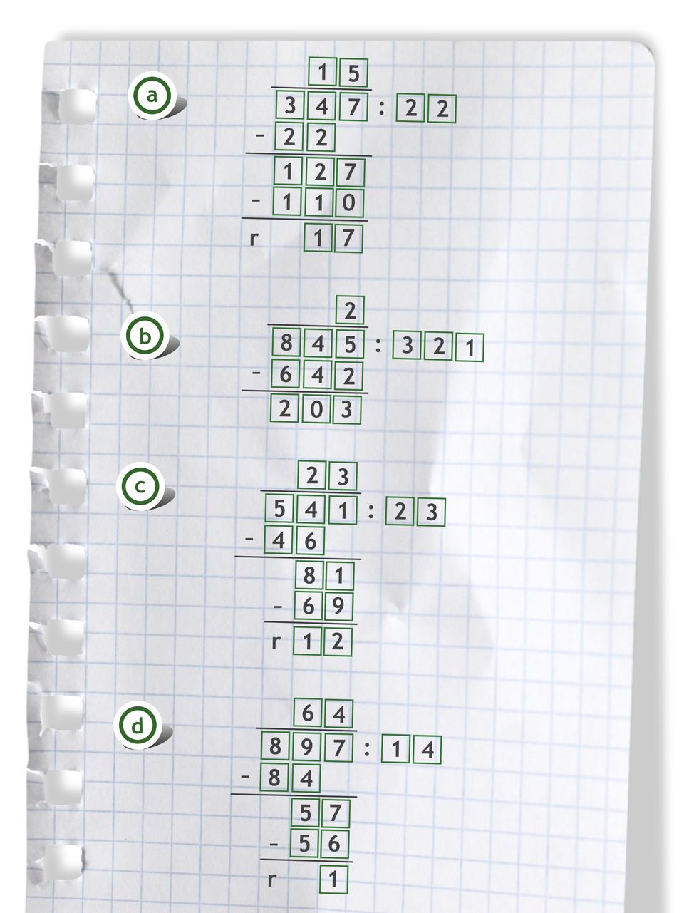 """""""Przykłady zapisane sposobem pisemnym: 347 dzielone przez 22 = 15 r17"""
