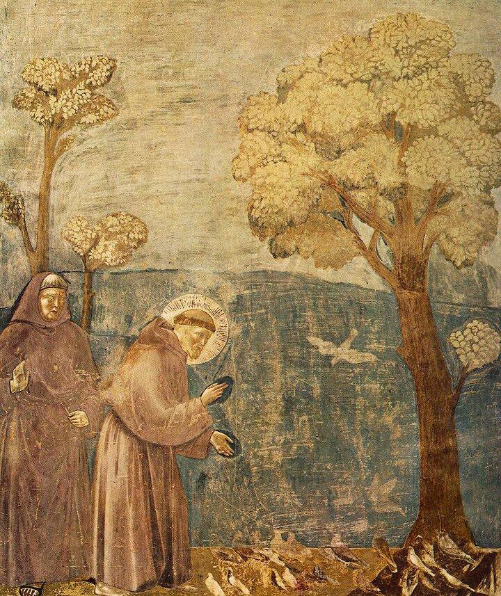 Kazanie świętego Franciszka do ptaków Źródło: Giotto di Bondone, Kazanie świętego Franciszka do ptaków, 1295, Bazylika Św. Franciszka wAsyżu, domena publiczna.