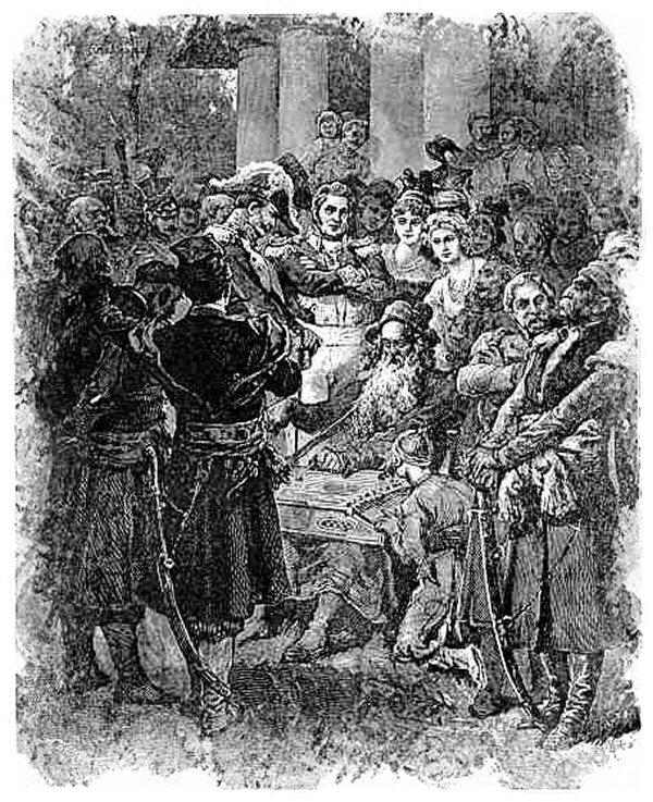 Koncert Jankiela Ilustracja doPana TadeuszaAdama Mickiewicza, księga XII. Źródło: Michał Elwiro Andriolli, Koncert Jankiela, 1881, domena publiczna.