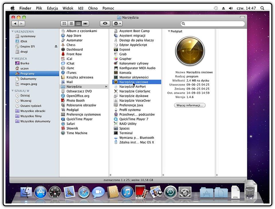 Zrzut okna programu Finder zpodglądem narzędzi siecowych wsystemie operacyjnym Mac OS X
