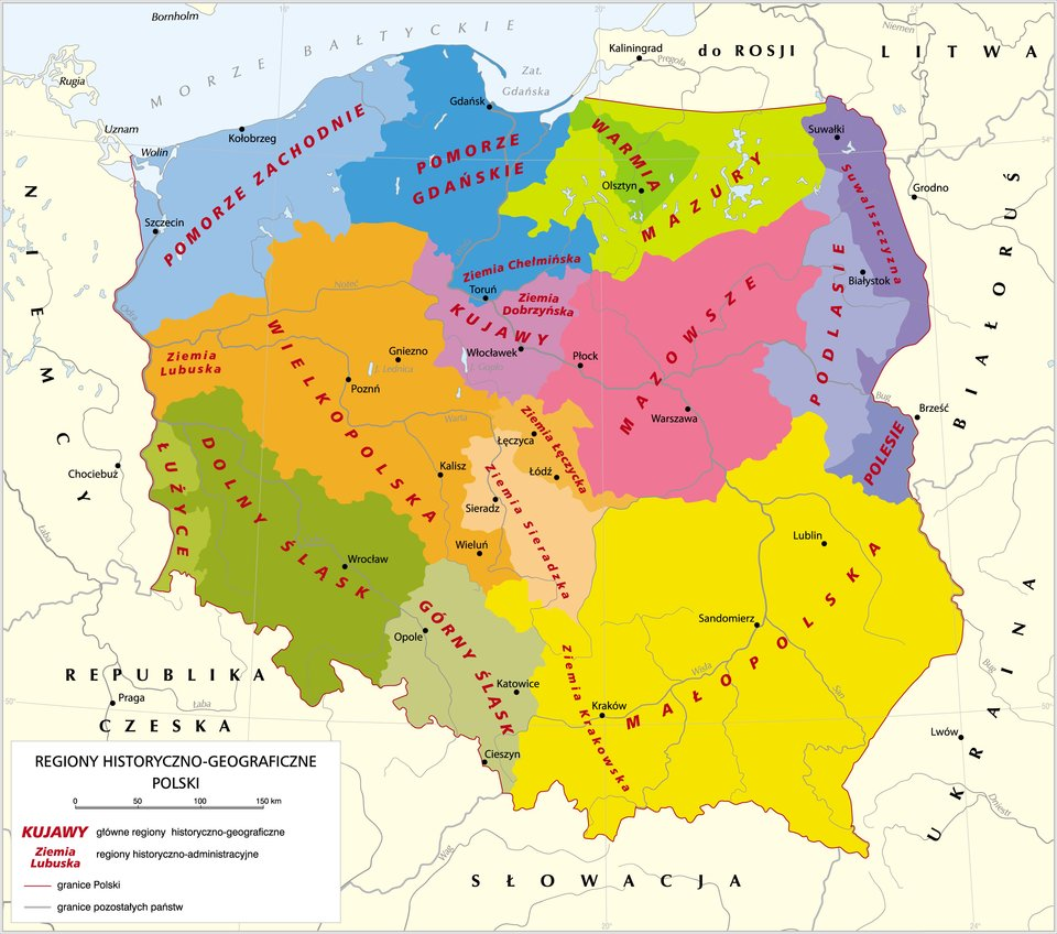 Mapa regionów historyczno-geograficznych Polski Mapa regionów historyczno-geograficznych Polski Źródło: Krystian Chariza izespół, licencja: CC BY 3.0.