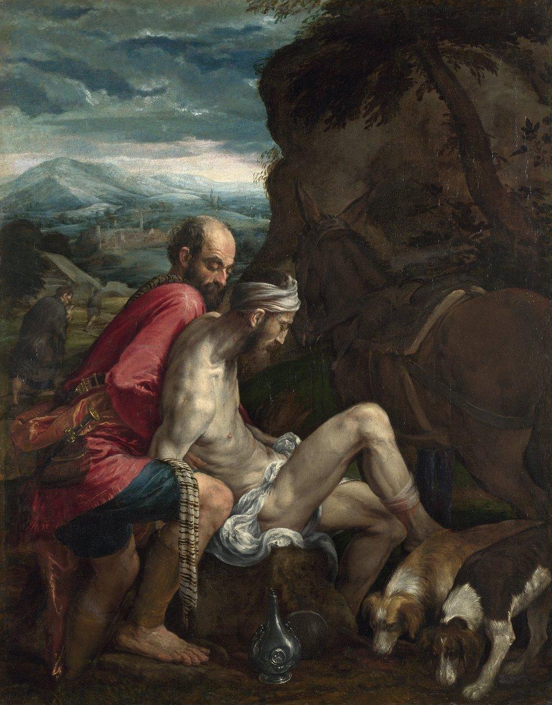Miłosierny Samarytanin Źródło: Jacopo Bassano, Miłosierny Samarytanin, ok. 1562–1563, olej na płótnie, National Gallery, Londyn, domena publiczna.