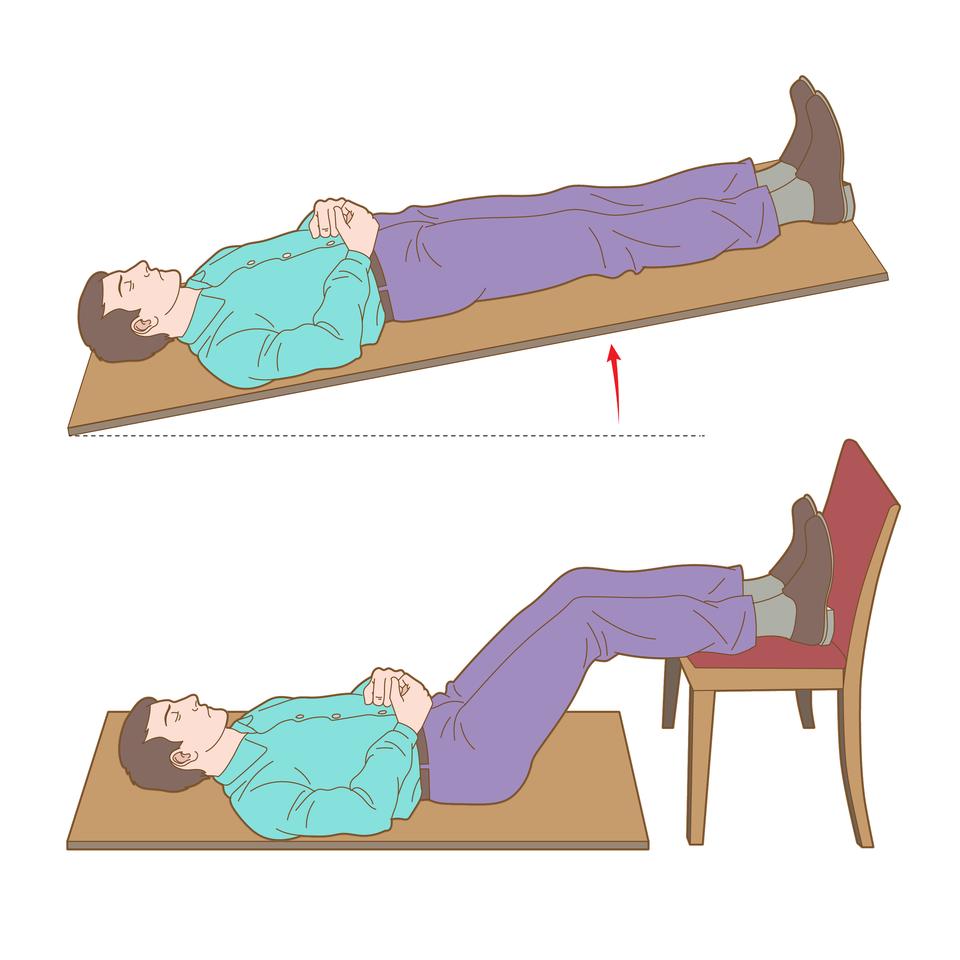 Ilustracja składa się zdwóch rysunków ułożonych jeden nad drugim. Na pierwszym od góry poszkodowany leżący na plecach zgłową skierowaną wlewą stronę ilustracji. Ręce złożone na brzuchu, dłonie razem. Podłoże to prostokątna deska uniesiona wgórę tak aby nogi znajdowały się wyżej od głowy. Uniesienie to akcentuje dodatkowo czerwona strzałka skierowana wgórę umieszczona pod deską wprawej części ilustracji. Na rysunku numer dwa ten sam poszkodowany ułożony wpodobny sposób, lecz na powierzchni płaskiej znogami uniesionymi wgórę iwspartymi na siedzeniu krzesła zoparciem. Kolana zgięte pod kątem około dziewięćdziesięciu stopni.