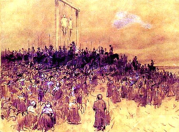 Masowa egzekucja Źródło: Stanisław Witkiewicz, Masowa egzekucja, 1870, domena publiczna.