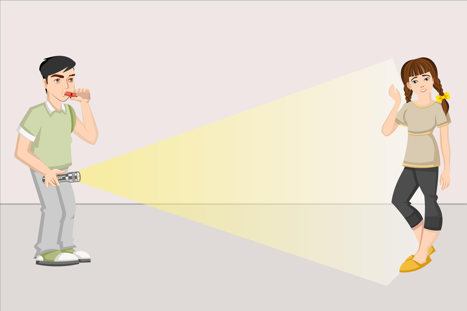 Ilustracja ukazująca dzieci wwieku ok 12 lat wykonujące doświadczenie, czy szybsze jest światło, czy dźwięk. Jedno dziecko trzyma wręce zapaloną latarkę, awdrugiej ręce trzyma gwizdek, na którym gwiżdże. Druga osoba patrzy wstronę pierwszej inasłuchuje. Jak we wzorze, ale chłopiec po lewej ma nie krzyczeć, tylko gwizdać na gwizdku