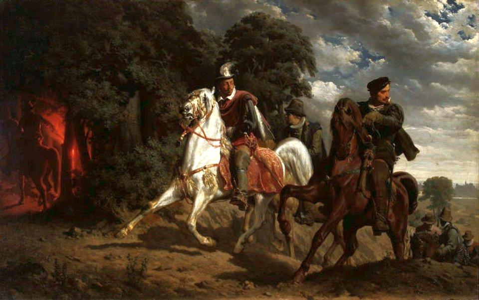 Trzej mężczyźni jadą na koniach. Jeden znich jedzie na białym koniu ima na głowie kapelusz zbiałym piórem.
