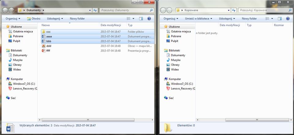 Animacja: Kopiowanie plików wsystemie Windows