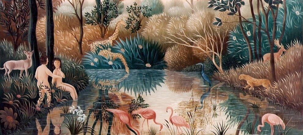 Ziemski raj Źródło: Raphaël Toussaint, Ziemski raj, 1970, obraz olejny, licencja: CC BY-SA 4.0.