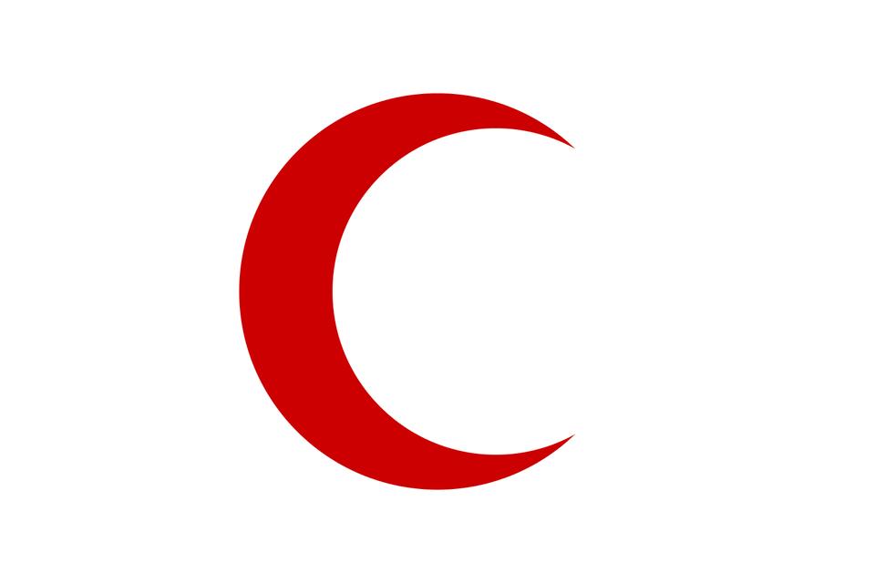 Flaga Czerwonego Półksiężyca−największej organizacjihumanitarnejdziałającej wTurcji Flaga Czerwonego Półksiężyca−największej organizacjihumanitarnejdziałającej wTurcji Źródło: domena publiczna.
