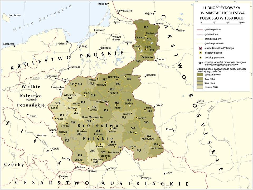Ludność żydowska wmiastach Królestwa Polskiego w1858 roku Źródło: Krystian Chariza izespół, Ludność żydowska wmiastach Królestwa Polskiego w1858 roku, licencja: CC BY 3.0.