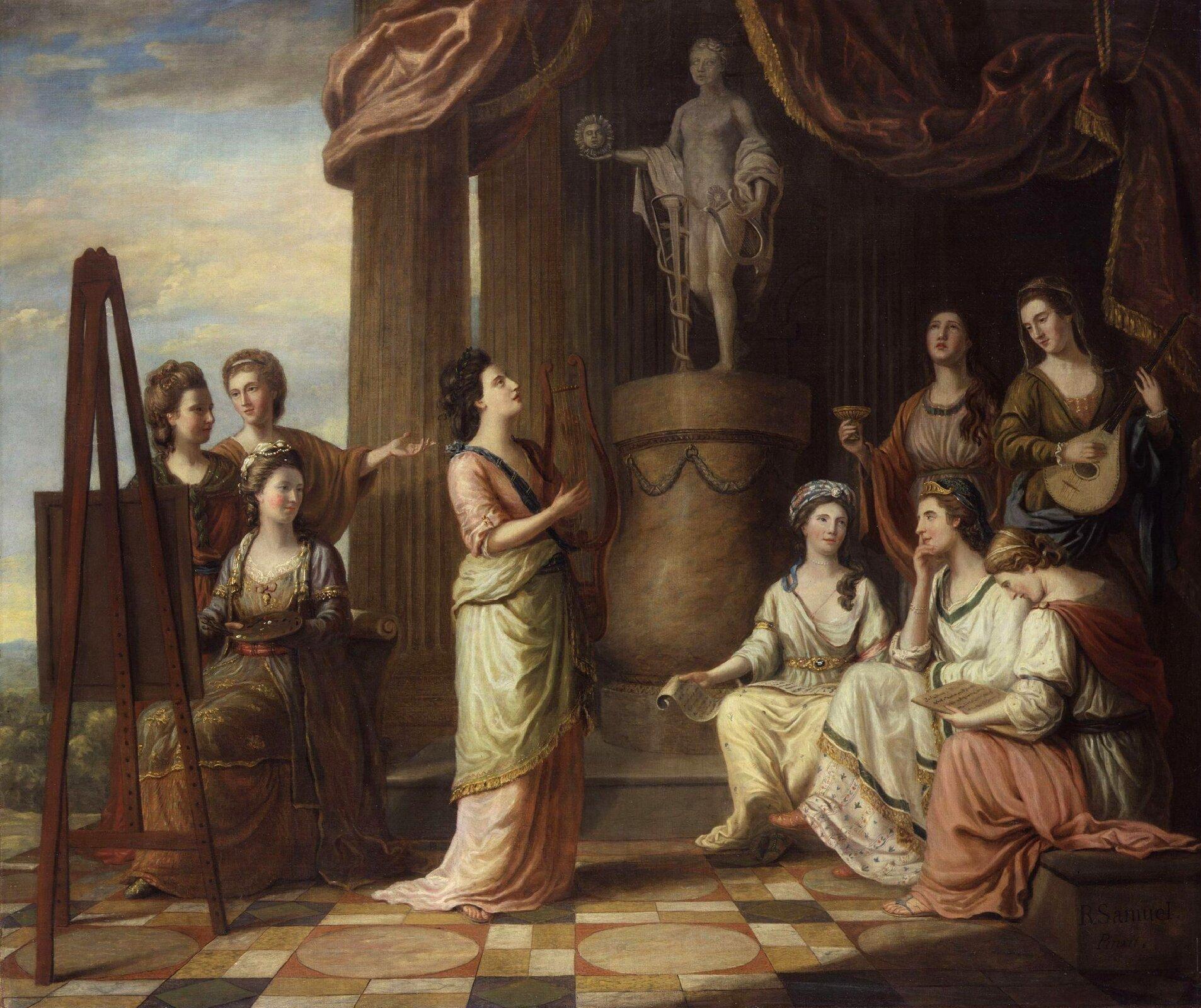 """Ilustracja przedstawiająca obraz Richarda Samuela pt. """"Portrety dziewięciu muz wświątyni Apolla"""". Obraz przedstawia kobiety znajdujące się wświatyni, każda znich zajmuje się inną dziedziną sztuki."""