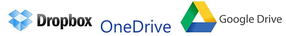 Ilustracja przedstawiająca loga dysków przechowyjących dane wchmurze: Google Drive, OneDrive, Dropbox