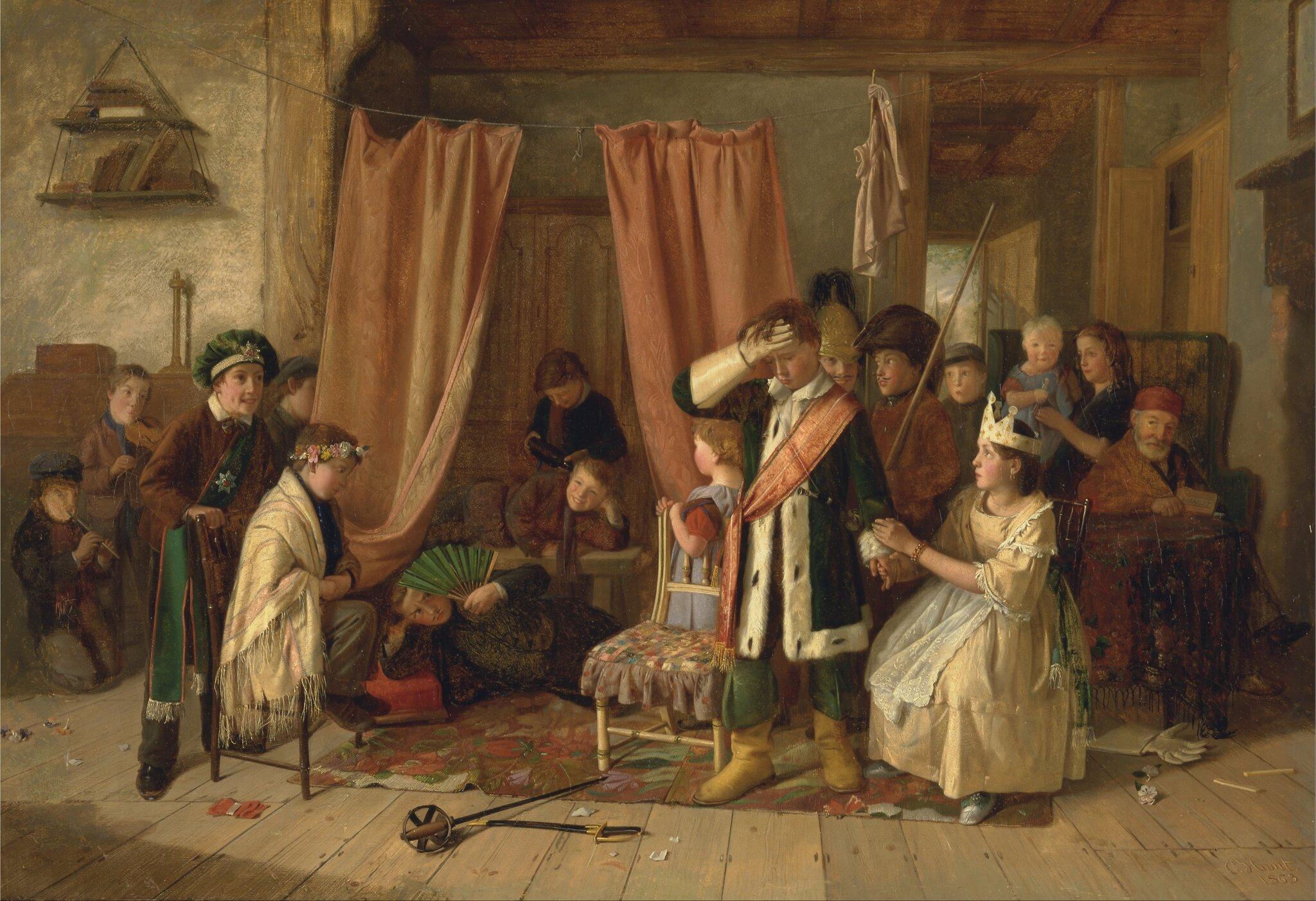 """Dzieci grające scenę z""""Hamleta"""" Źródło: Charles Hunt, Dzieci grające scenę z""""Hamleta"""", 1863, olej na płótnie, Yale Center for British Art , domena publiczna."""