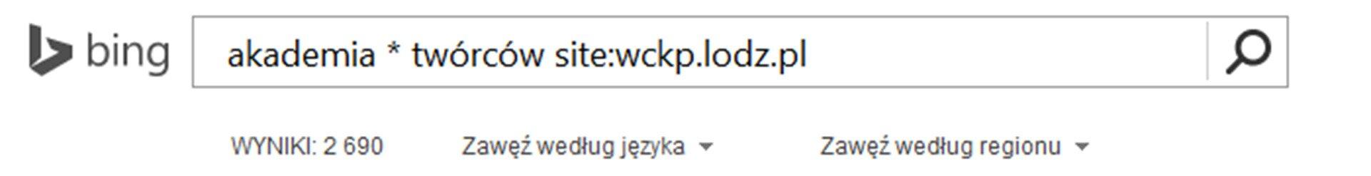 Zrzut paska wyszukiwarki Bing zwpisanym tekstem oraz Site