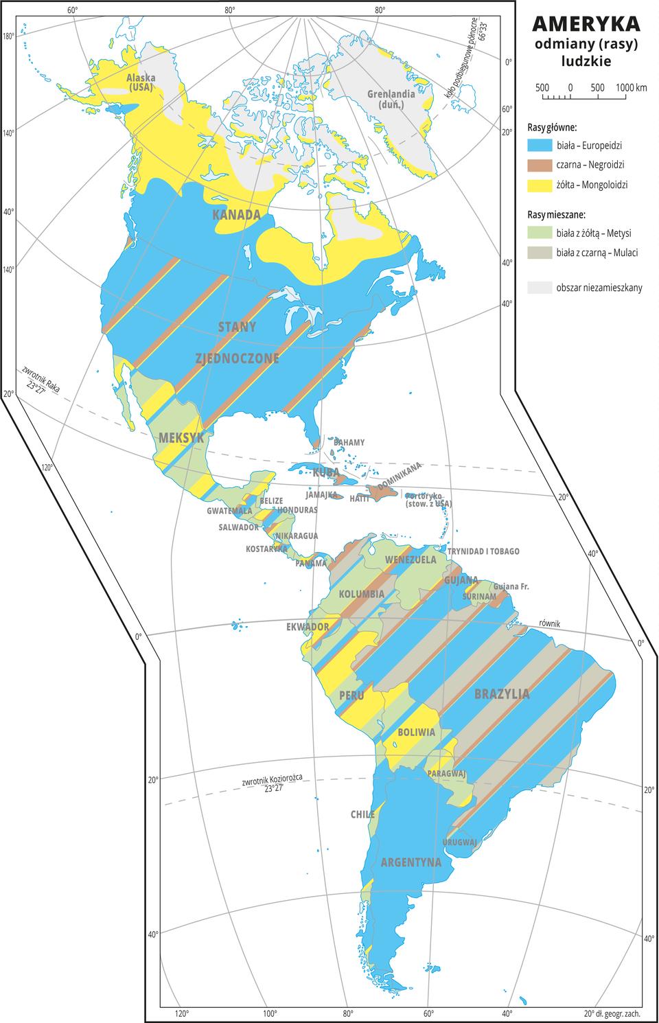 Ilustracja przedstawia mapę odmian ludzkich wAmeryce. Odmiany główne: biała – Europeidzi, żółta – Mongoloidzi, czarna – Negroidzi. odmiany mieszane: biała zżółtą – Metysi, biała zczarną – Mulaci. Najwięcej obszarów pokrywa kolor niebieski oznaczający odmianę białą, na północy Ameryki Północnej przeważa odmiana żółta awAmeryce Środkowej – Metysi. Większość obszarów pokrywają kolorowe pasy oznaczające, że występuje tam ludność różnych odmian. Dookoła mapy wbiałej ramce opisano współrzędne geograficzne co dwadzieścia stopni. Wlegendzie umieszczono iopisano kolory użyte na mapie.