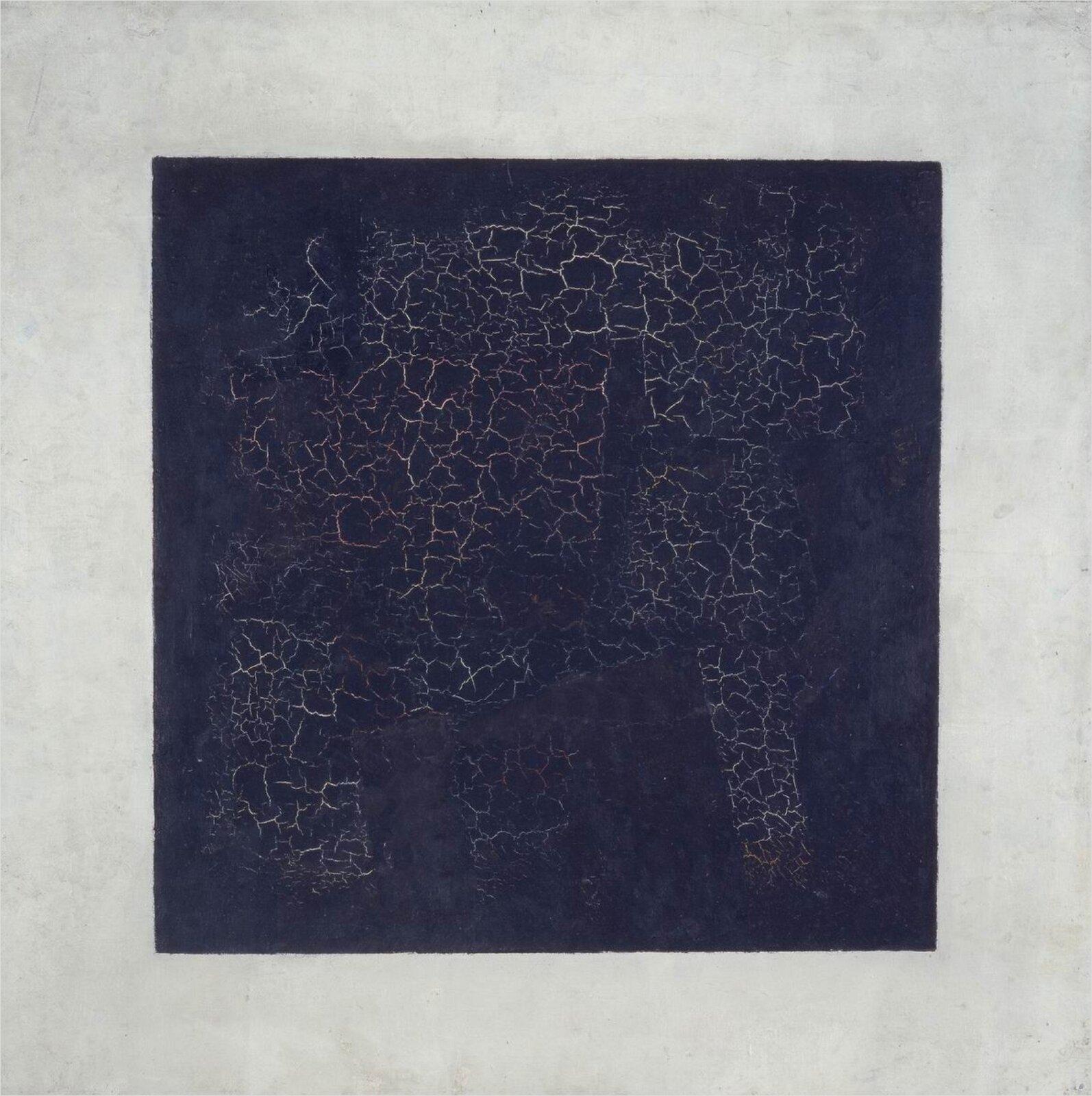"""Ilustracja przedstawia obraz Kazimierza Malewicza pt. """"Czarny kwadrat na białym polu. Ukazuje on ciemny kwadrat na jasnym tle. Wewnątrz kwadratu znajdują się białe rysy."""