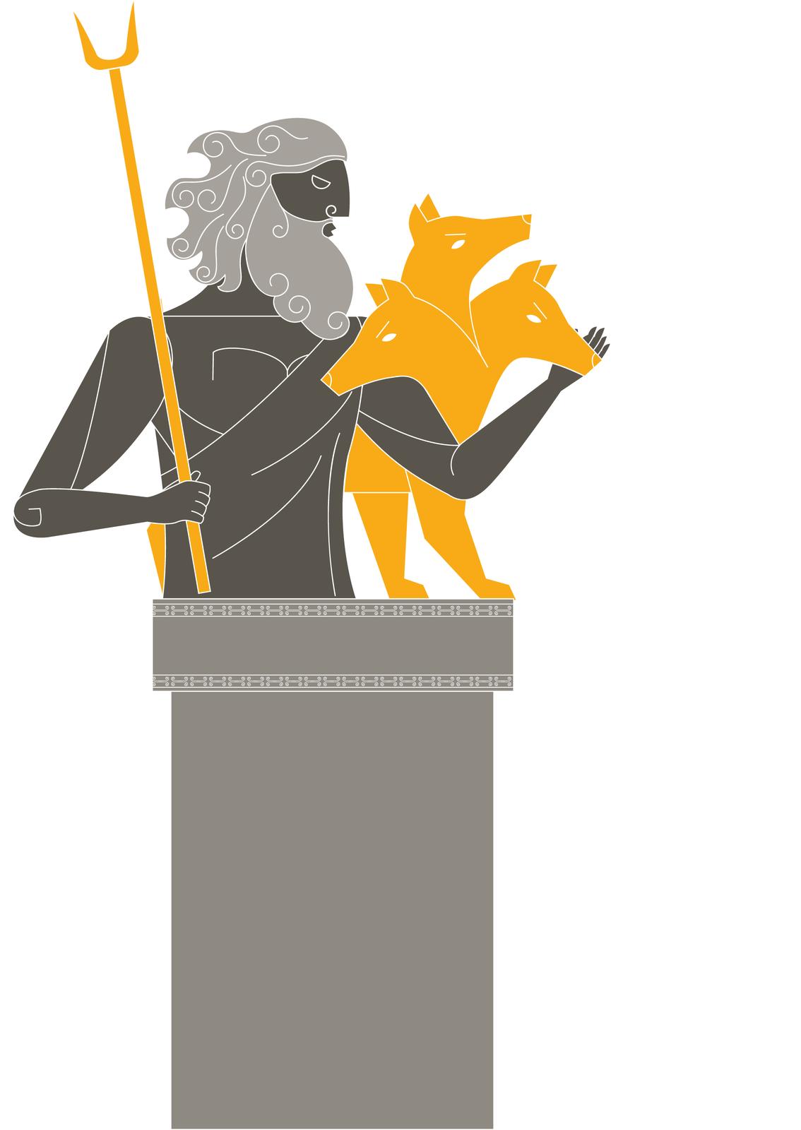 Hades, drugi zbraci Zeusa, rządził podziemną krainą umarłych. Nazywano ją od imienia swego władcy Hadesem. Wejścia do niej pilnował Cerber – pies otrzech głowach igrzywie zwęży Hades, drugi zbraci Zeusa, rządził podziemną krainą umarłych. Nazywano ją od imienia swego władcy Hadesem. Wejścia do niej pilnował Cerber – pies otrzech głowach igrzywie zwęży Źródło: Contentplus.pl sp. zo.o., licencja: CC BY 3.0.