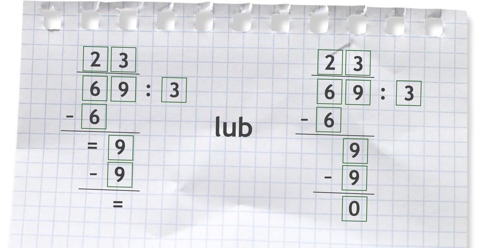 Przykład dzielenia pisemnego: 69 dzielone przez 3 =23.