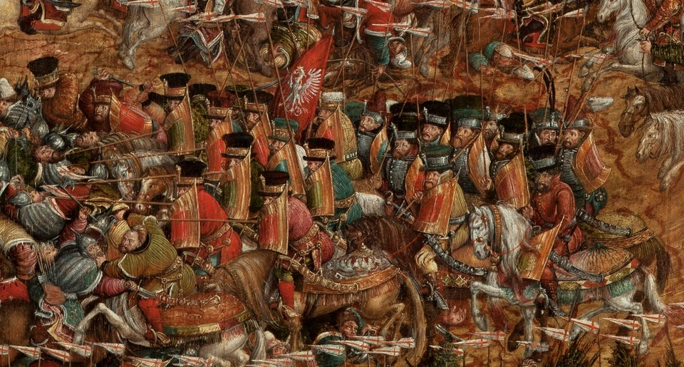 Bitwa pod Orszą - detal Wojska koronne. Źródło: artysta nieznany, Bitwa pod Orszą - detal, między 1525-1540, tempera na dębowej desce, Muzeum Narodowe wWarszawie, domena publiczna.