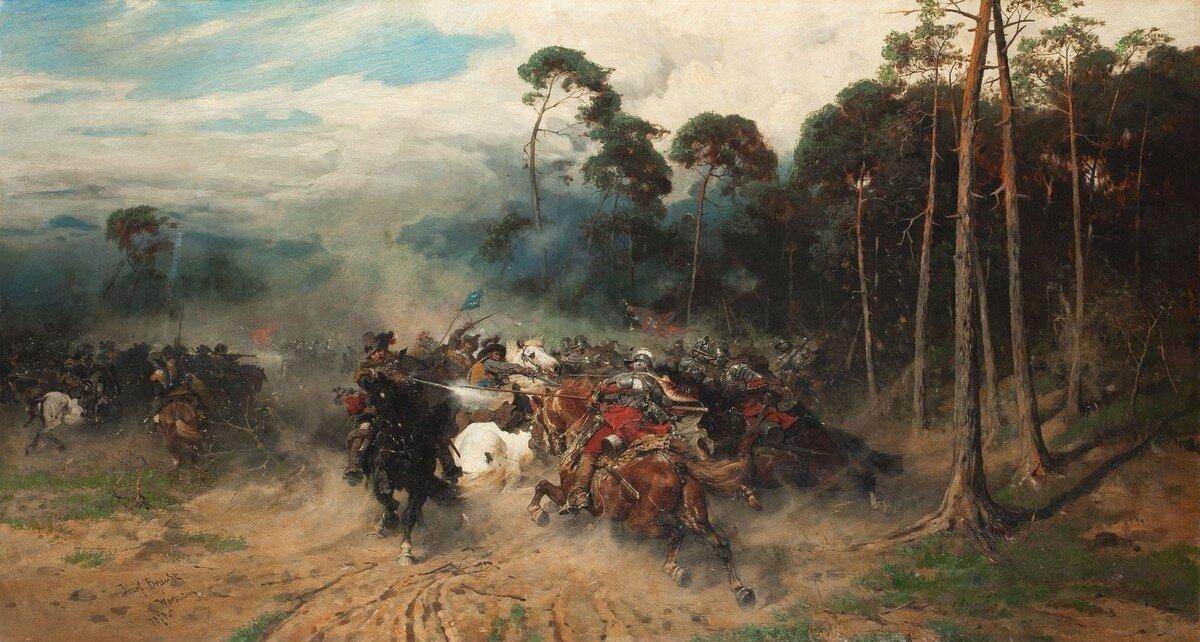 Zbrojne starcie dwóch oddziałówjazdy na piaszczystej drodze iłące obok lasu iglastego. Po prawej stronie wojska koronne: sądząc po strojach - husaria, choć bez dobrze znanych piór. Po lewej rajtaria idragoniaszwedzka. Wtle zachmurzone niebo.