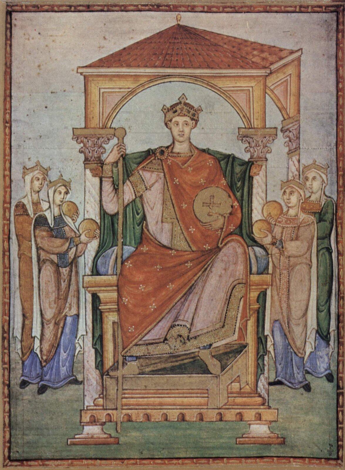 Otton III na tronie, miniatura zrękopisu wykonanego wkatedrze wTrewirze Źródło: Otton III na tronie, miniatura zrękopisu wykonanego wkatedrze wTrewirze, Musée Condé, licencja: CC 0.