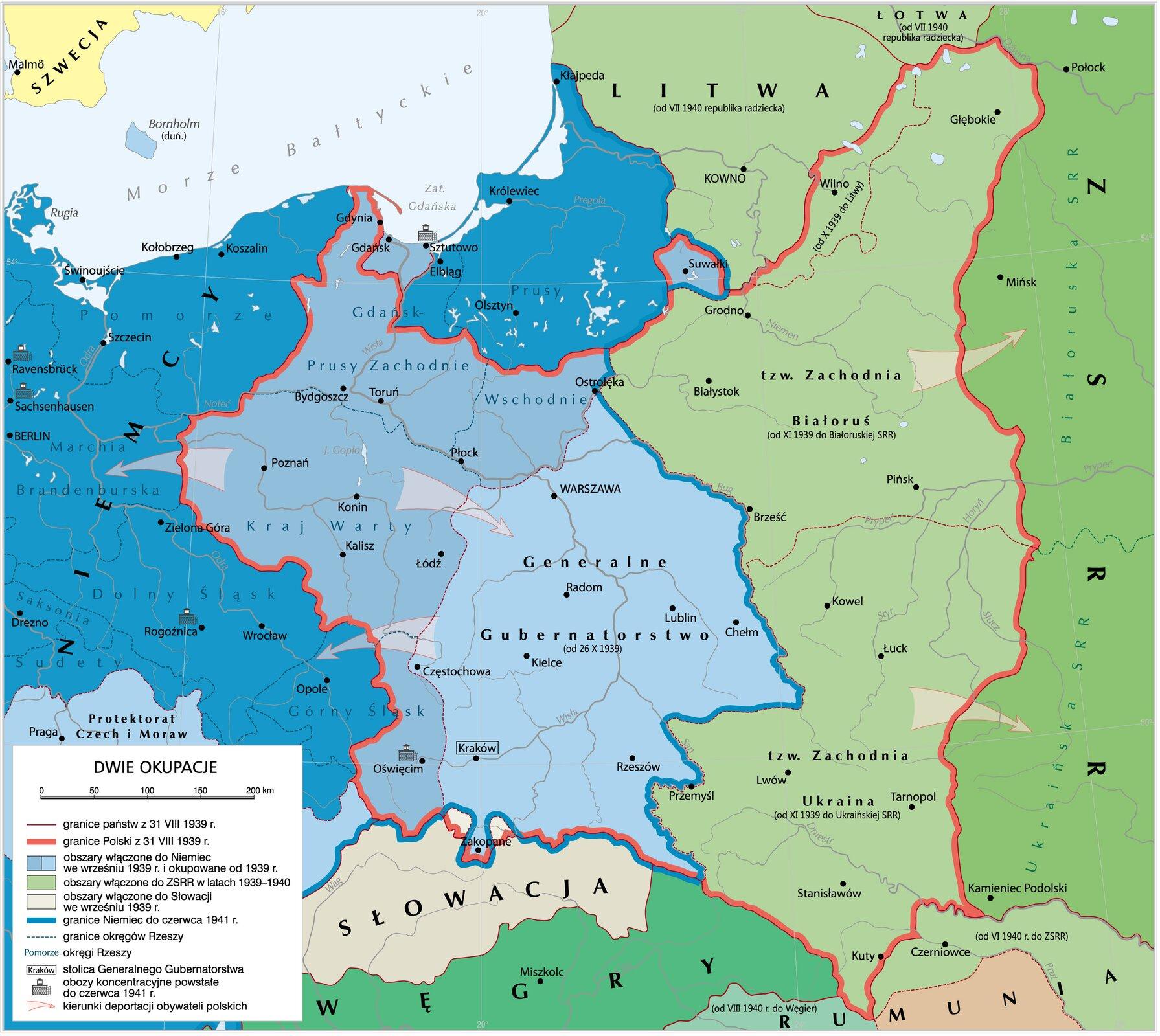 Polska pod okupacją niemiecką isowiecką Polska pod okupacją niemiecką isowiecką Źródło: Krystian Chariza izespół, licencja: CC BY 3.0.