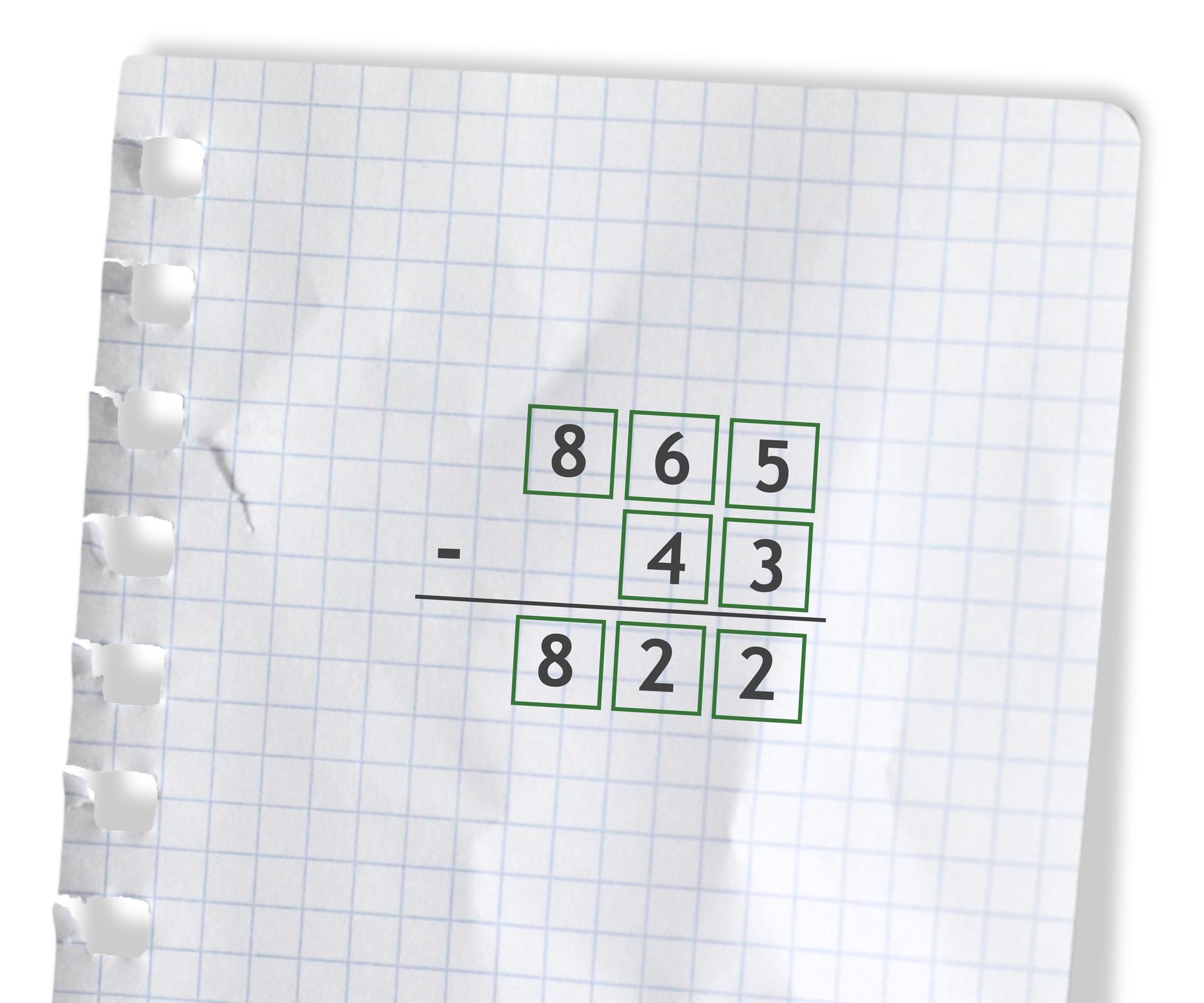 Przykład: 865 - 43 =822. Rozwiązanie zadania podpunkt c.