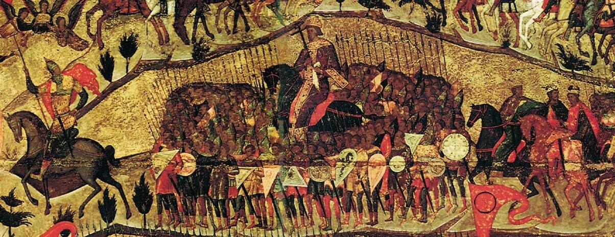 Błogasławione wojsko Niebieskiego Cara - detal Środkowa część ikony – po lewej stronie na koniu wpewnymoddaleniu na czele wojsk Iwan Groźny; wśrodku większa postać to Włodzimierz Monomach lub Konstantyn Wielki, pochód zamykają po prawej stronie książęta ruscy iświęci prawosławni: Włodzimierz, Borys iGleb. Źródło: Błogasławione wojsko Niebieskiego Cara - detal, ok. 1550-1560, Tretyakov Gallery, Moscow, domena publiczna.