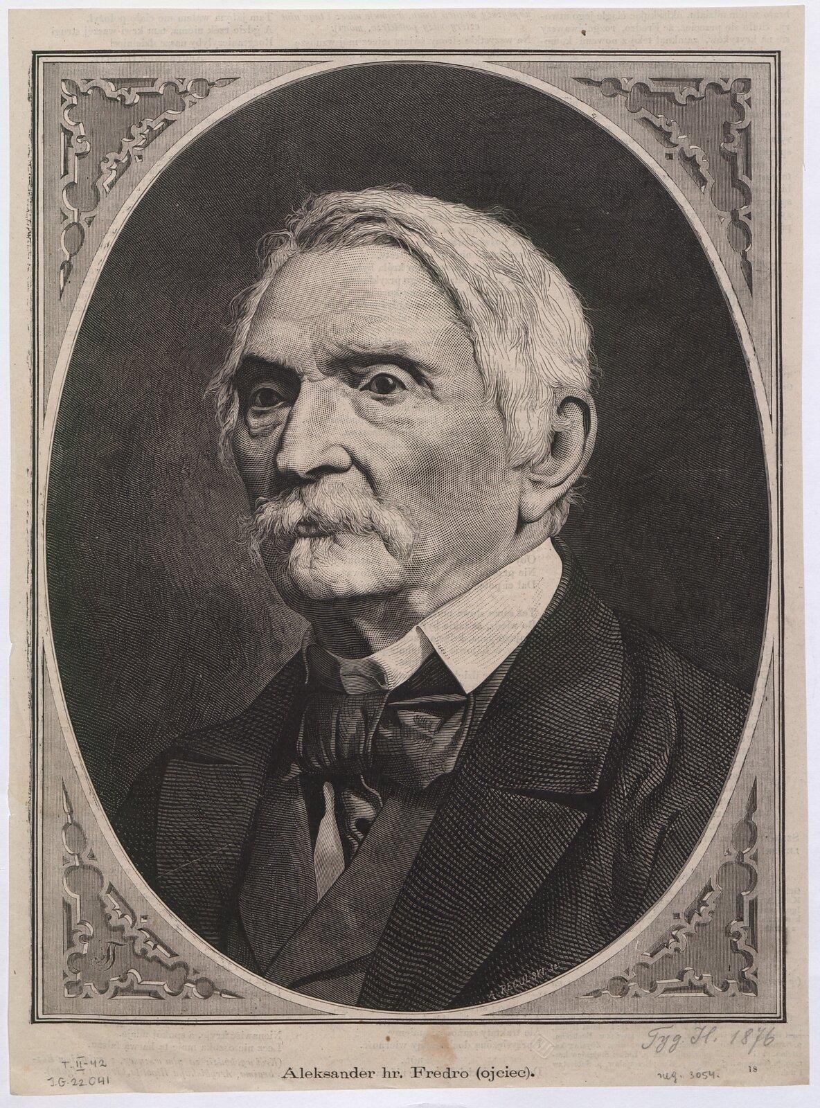 Aleksander hr. Fredro (ojciec) Źródło: Aleksander Regulski, Aleksander hr. Fredro (ojciec), 1876, drzeworyt, domena publiczna.