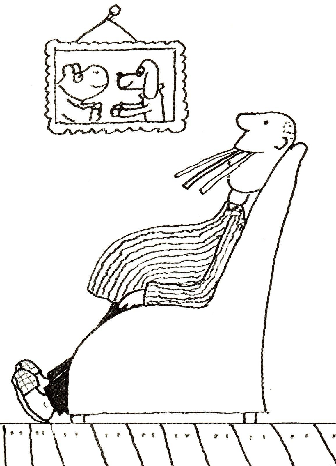 """Ilustracja przedstawia grafikę zksiążki dla dzieci Wandy Chotomskiej """"Bobry mówią dzień bobry"""", ukazującą mężczyznę zprofilu, siedzącego wfotelu. Postać ma wyciągnięte nogi iduży brzuch. Na ścianie wisi zdjęcie psa ikrowy."""