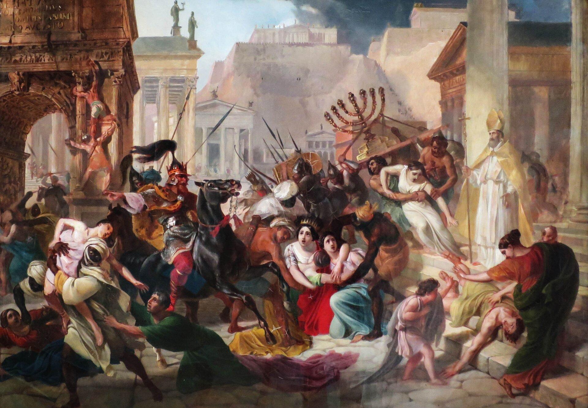 Genzeryk zdobywa Rzym w455 roku Źródło: Karl Briullov, Genzeryk zdobywa Rzym w455 roku, domena publiczna.