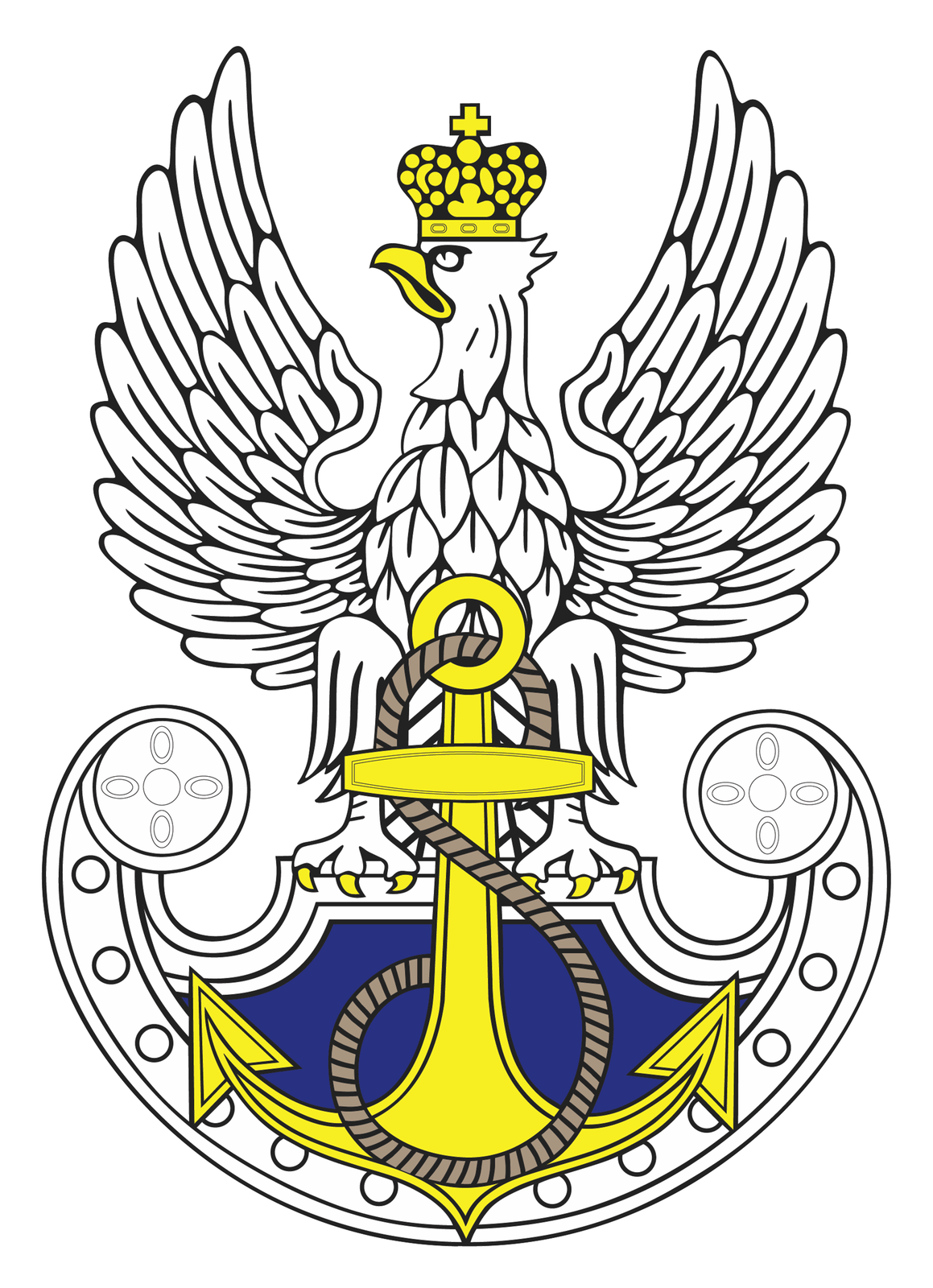 Ilustracja przedstawia symbol marynarki wojennej stylizowany na godło orła polskiego. Biały orzeł ze skrzydłami wzniesionymi ku górze. Głowa zżółtym dziobem skierowana wprawo. Na głowie żółta korona. Na szczycie korony krzyż równoramienny. Szpony orła zakończone żółtymi pazurami przytrzymują tarczę. Orzeł osadzony jest na tarczy amazonek. Tarcza zakończone półkoliście wdolnej części. Kształt tarczy tworzy formę półksiężyca ułożonego poziomo. Końce tarczy zaokrąglone. Wnętrze tarczy granatowe. Na powierzchni tarczy pionowo ustawiona żółta kotwica. Przez okrągły uchwyt, wgórnej części kotwicy, przewleczona jest gruba lina. Lina zakręca się wokół kotwicy wdolnej części.