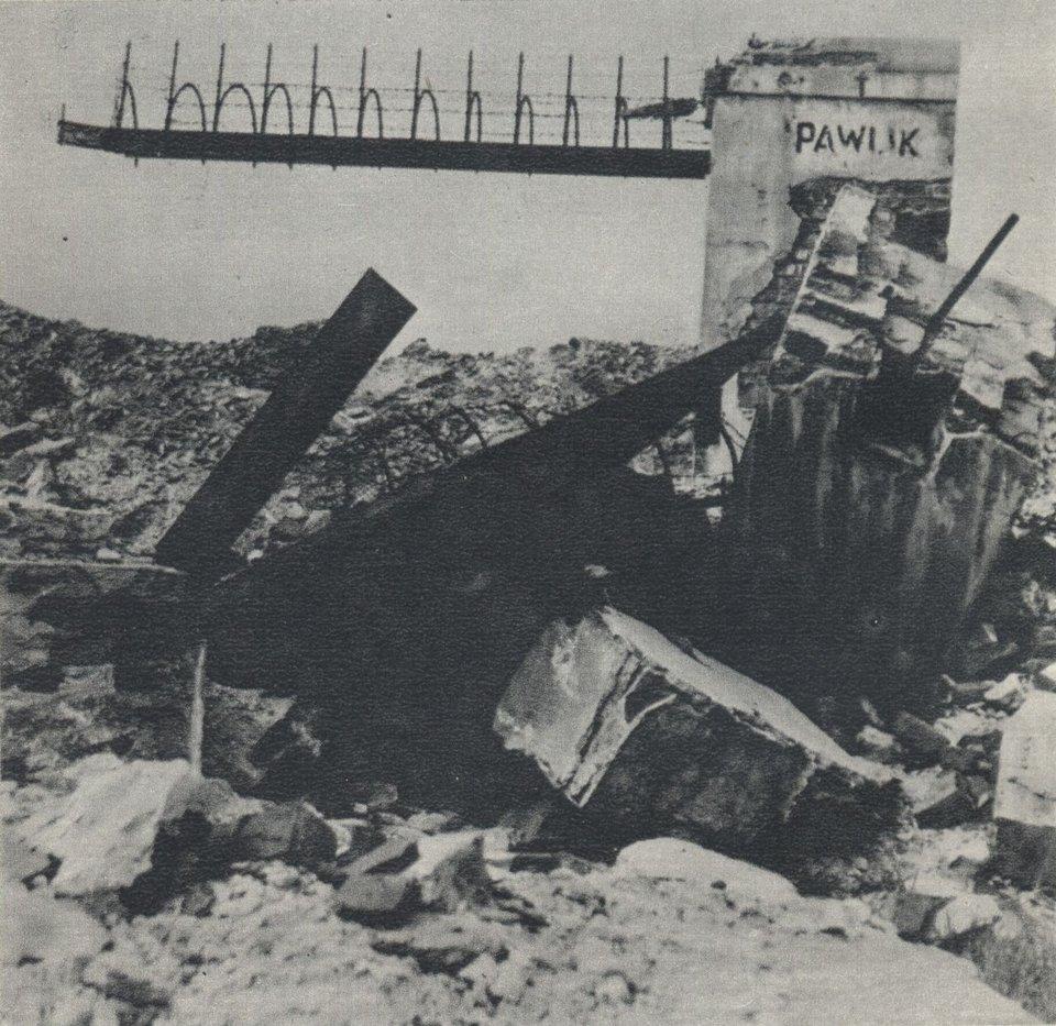Pawiak wybudowano wlatach 30. XIX wieku. Na zdjęciu więzienie w1945 roku Źródło: Pawiak wybudowano wlatach 30. XIX wieku. Na zdjęciu więzienie w1945 roku, Fotografia, domena publiczna.
