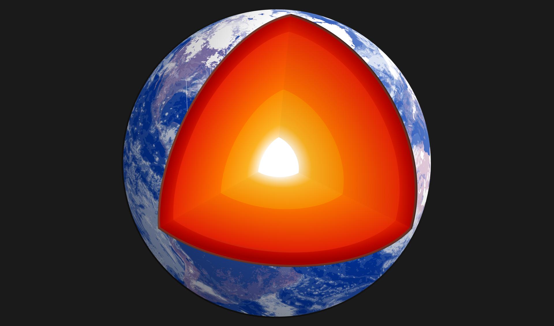 Na czarnym tle kula ziemska. Widoczne wody wkolorze granatowym iwarstwa chmur. Wycięty duży fragment kuli. Wewnątrz widać 3 warstwy iświecący środek. Kolory warstw pomarańczowe. Najciemniejsza na zewnątrz. Bliżej środka jaśniejsze. Wewnątrz wycinka najjaśniejszym kolorem zaznaczono jądro Ziemi.